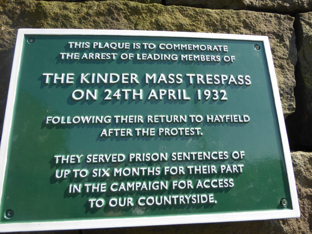 Kinder Mass Trespass plaque