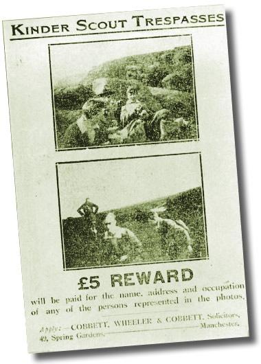 Kinder Scout Trespassers - Reward Notice